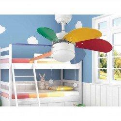 Ventilador de techo, PARA NIÑOS, 81 cm. con luz integrada FARO varios colores PALAO 33179