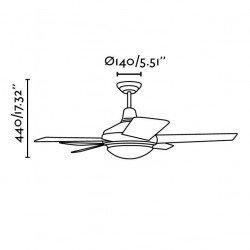 Ventilador de techo, moderno, abeto gris / caoba 132 cm. con lámpara, control remoto IR, FARO 33137 Ovni
