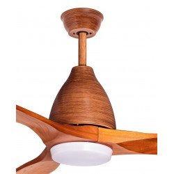 Ventilador de techo de 132 Cm de madera, con kit de luz LED y control remoto.