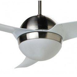 Moderno ventilador de techo blanco y níquel 132 Cm potente control remoto de luminaria reversible.