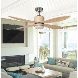 Ventilador de techo 132 cm DC Mistral, moderno, LED y control remoto de aspas de arce.