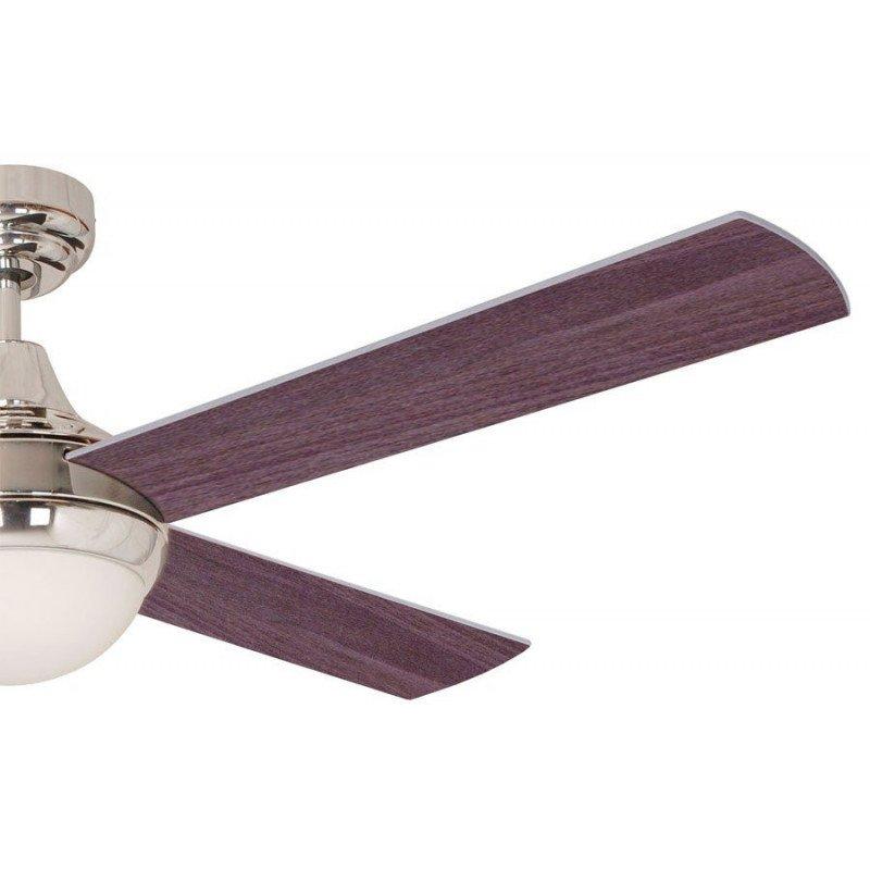 Ventilador de techo, moderno de cuatro palas reversibles en color gris y wengue. De 122 cm. de diámetro y mando adistancia