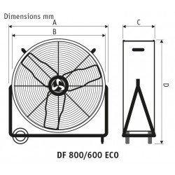 Ventilador industrial de alto rendimiento 65 cm, 123 Vatios con caja y ruedas.