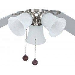 Ventilador de techo con 4 palas reversibles en color gris y haya-. De 105 Cm de diámetro y 3 luminarias.