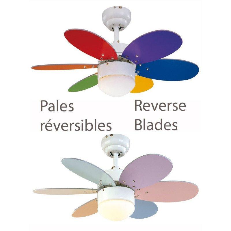 Ventilador de techo infantil palas multicolor y blanco con 76 cm de diámetro. De serie con kit de luz integrada.