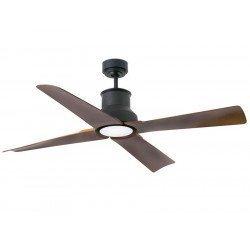 Ventilador de techo, Winche, 130cm, negro y marrón, diseño, interior/exterior, IP44, luz LED Faro.