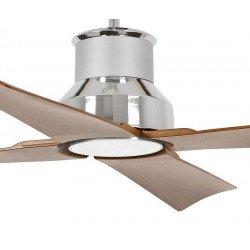 Ventilador de techo, Winche, 130cm, cromo y marrón, diseño, interior/exterior, IP44, luz LED Faro.