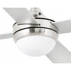 Ventilador de techo moderno 106 cm con lámpara, control remoto IR, Mini Icaria Niquel Mate