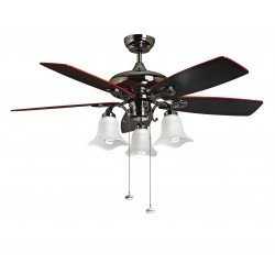 RedWin de Purline By KlassFan es un ventilador de techo reversible níquel negro con aspas negro rojo con LED