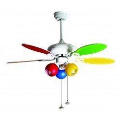 Color Purline By KlassFan, ventilador de techo con punto de luz, aspas reversibles de doble cara de color blanco o multicolor.