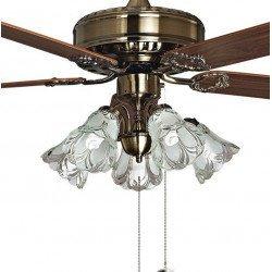 Purline by Klassfan, Toureillo, Ventilador de techo clásico, aspas de roble / magahoni, 152 cm, con Led