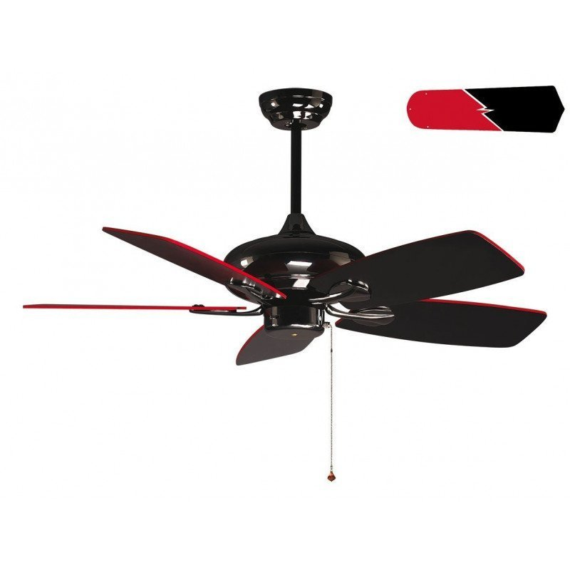 RedWin de Purline By KlassFan ventilador de techo reversible níquel negro con aspas negras y rojas diseño ultra diseño