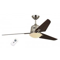Ventilador de techo DC Eco AVIATOS BN-NB, moderno 132 Cm. cromo cepillado , aspas de nogal, con lámpara, ultra silencioso
