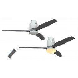Ventilador de techo CC, lacado blanco aspas blanco gris plata de 132 cm con luz control remoto, CASAFAN