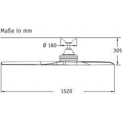 Ventilador de techo 152 Cm Fanimation Spitfire Design, aspas de madera lacada gris plata 25 años de garantía