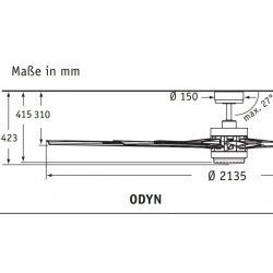 Ventilador De Techo De 214 Cm. Odyn BN, cromo cepillado, diseño, gran tamaño con garantía de 25 años