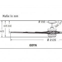 Ventilador De Techo De 214 Cm. Fanmation Odyn MW, blanco, diseño, tamaño con lámpara led, garantía de 25 años