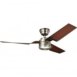 Ventilador de techo, silencioso, cromo cepillado moderno de 132 cm, aspas café, Hunter flight Bn