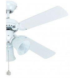 Ventilador de techo AC de 105 cm de diámetro con palas reversibles en blanco y multicolor. Silencioso 3 tulipas E27 60W
