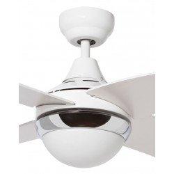 Moderno ventilador de techo 122 cm de diámetro, con palas blancas, kit de luz y de serie con control remoto.