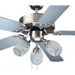 Ventilador de techo gris de 110 cm de diámetro. Motor de 3 velocidades, silencioso, con kit de luz de 3 tulipas LED