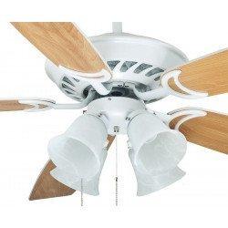 Ventilador de techo grande, con diámetro de 132 cm silencioso con palas blancas y haya. Kit de luz con 3 tulipas.