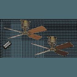 Ventilador de techo, vintage, 135 Cm Latón antiguo, aspas roble y nogal, motor DC, control remoto, Roadhouse MA A-NCASAFAN