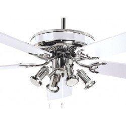 Ventilador de techo de 132 cm, silencioso con motor cromado y palas reversibles blancas y haya. De serie con 4 focos LED