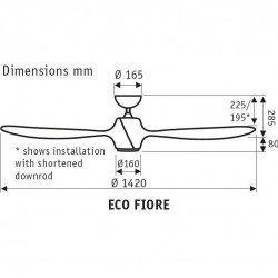 Eco Fiore 142 cm ventilador de techo moderno Bronce oscuro con luz Led y mando.