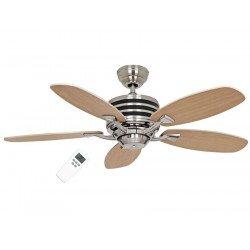 Ventilador de techo, Eco Gamma, 103 cm, moderno, acero cepillado, aspas haya/negro, hiper silencioso, Casafan