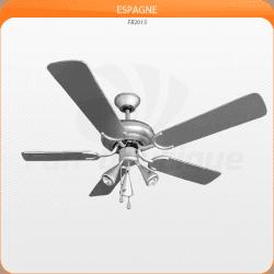 Ventilador de techo 132 cm, 3 potentes luces, aspas plateadas grises.