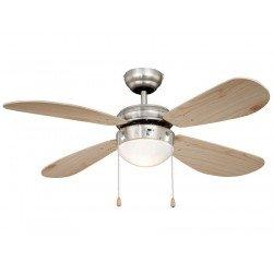Ventilador de techo 105 cm. de acero niquelado, clásico, con luz, aspas pino ,silencioso, ideal para techo bajo