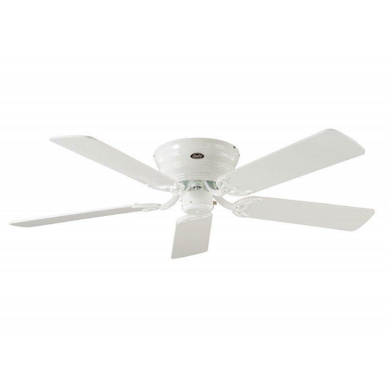 Ventilador de techo, Classic Flat, 132 Cm, silencioso, aspas de color blanco / gris plata, cuerpo blanco pulido, CASAFAN