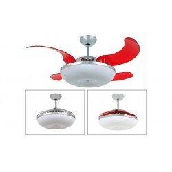Mela de Vento, con luz, aspas retráctiles, ventilador de techo discreto y poderoso.
