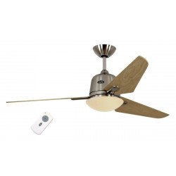 Ventilador de techo DC Eco AVIATOS BN_SL,moderno 132 Cm. cromo cepillado, aspas de arce con lámpara, ultra silencioso