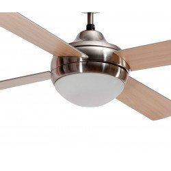 Ventilador de techo moderno marrón 122 cm con mando a distancia, luces y aspas bifacial Wengé y haya.