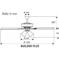 Builder más un ventilador de techo cromado, aspas dos caras nogal / cereza silencioso de 132 cm 3 tulipanes, Hunter