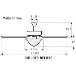 Builder Delux BN, ventilador de techo, cromo, aspas de dos caras, nogal / cerezo, silenciador de 132 cm, vidrio opal, Hunter