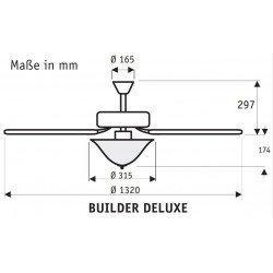 Builder Delux NB Ventilador de techo Grafito negro, aspas cerezo / nogal amarillo 132 cm Hunter cazador