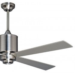 Ventilador de techo, diseño, cromo cepillado 132 cm, control remoto y punto de luz LED.