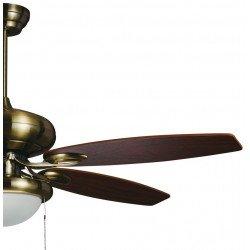 Ventilador de techo clásico, latón antiguo, 132 cm. aspas roble y cerezo, luz potente.