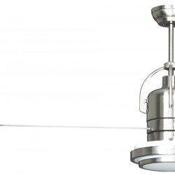 Ventilador de techo, moderno, 122 cm. cromado, aspas con dos caras blanco caras gris, caja de control