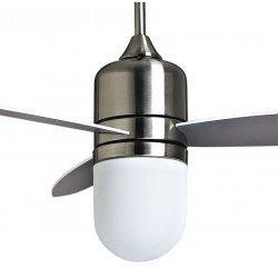 Ventilador de techo, diseño, edición limitada de 122 cm, cromo cepillado, control remoto y potente punto de luz de KlassFan Bee.