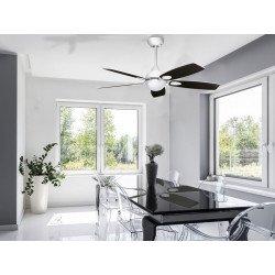 Purline Por KlassFan White Mistral un ventilador de techo con control remoto con aspas de diseño ultra blanco / negro.