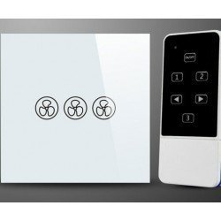 Interruptor de pared blanco empotrado con control remoto para ventilador de techo sin luz, acabado de vidrio, tacto suave.