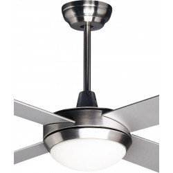 Potente ventilador de techo moderno 132 cm cromado y palas de dos lados blanco / gris control remoto y led
