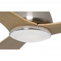 Ventilador de techo DC de 135 cm con control remoto, lámpara led, aspas de madera, LBA DROP