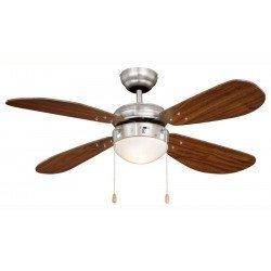 Ventilador de techo 105 cm. de acero niquelado, clásico, con luz, aspas nogal ,silenciosos, ideal para techo bajo