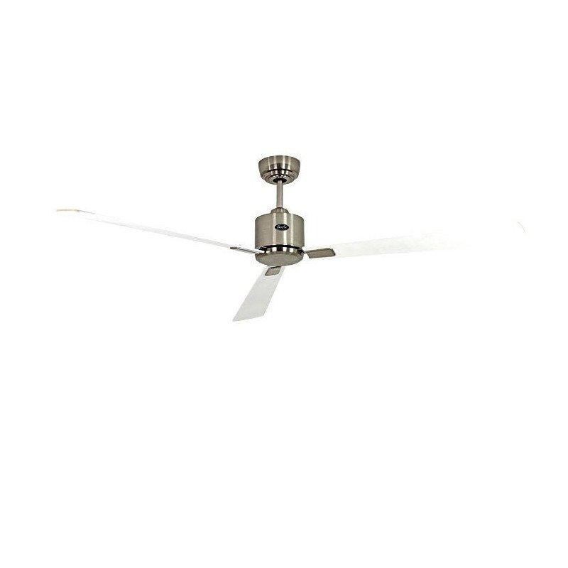 Ventilador de techo, moderno, 152 cm, cromo cepillado aspas blanco gris control remoto, CASAFAN Eco Neo II WE