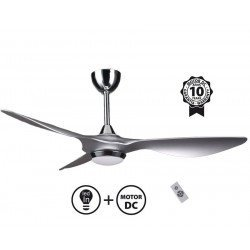 Ventilador de techo super destratificado, Helix Silver, 132cm, DC silver , con luz, termostato, Klass Fan